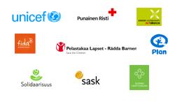 Järjestöt - Unicef, Punainen Risti, Kirkon ulkomaanapu, Fida, Pelastakaa Lapset, Plan, Solidaarisuus, Sask,