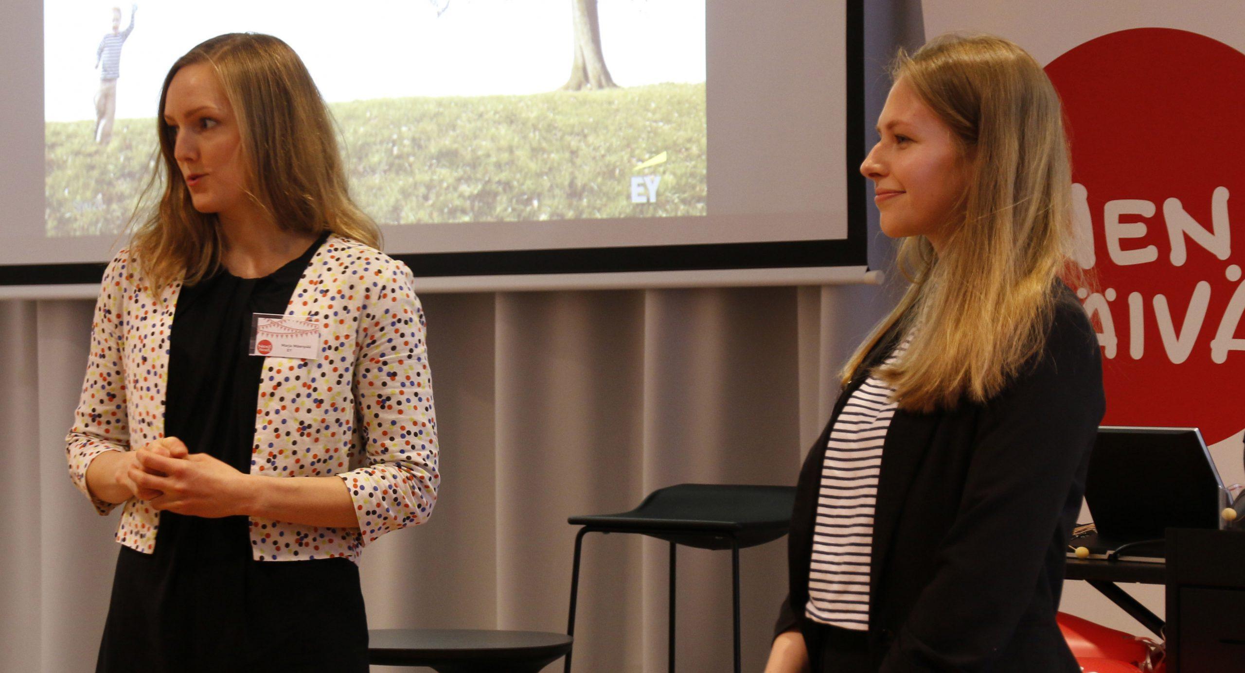 EY:n konsultit Marja Mäenpää ja Emmy Simmons esittelivät selvityksen tuloksia kevään NenäNetworkissä.