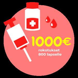 1000 eurolla rokotukset 800 lapselle